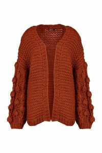Womens Premium Hand Knitted Chunky Cable Cardigan - brown - M/L, Brown