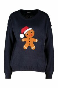 Womens Gingerbread Man Applique Jumper With PomPom - navy - M, Navy