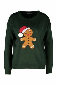 Womens Gingerbread Man Applique Jumper With PomPom - Green - M, Green
