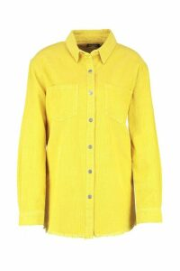 Womens Norah Yellow Cord Raw Hem Shirt - 14, Yellow