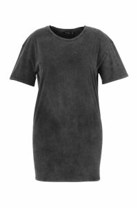 Womens Plus Acid Wash T-Shirt Dress - black - 20, Black