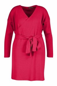 Womens Plus Knitted Off The Shoulder Wrap Dress - red - 24, Red