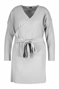 Womens Plus Knitted Off The Shoulder Wrap Dress - grey - 22, Grey