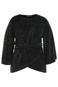 Womens Plus Metallic Kimono Tie Waist Top - black - 20, Black