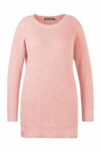 Womens Plus Soft Knit Jumper Dress - pink - 18, Pink