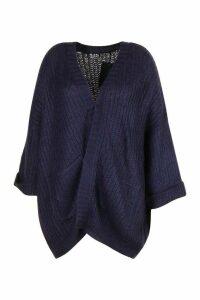 Womens Plus Oversized Front Pocket Detail Cardigan - navy - XXL, Navy