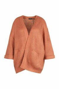 Womens Plus Oversized Front Pocket Detail Cardigan - orange - XXL, Orange