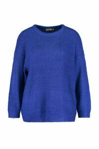 Womens Plus Crew Neck Fisherman Rib Jumper - blue - 20, Blue
