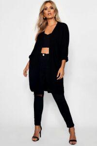 Womens Plus Cocoon Oversized Rib Knit Cardigan - black - 22, Black