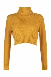 Womens Petite Roll Neck Cable Knit Crop Jumper - yellow - M, Yellow