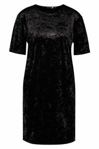 Womens Tall Crushed Velvet T-Shirt Dress - black - 16, Black
