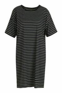 Womens Tall Stripe Knitted T-Shirt Dress - black - 12, Black