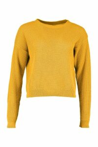 Womens Tall Crew Neck Crop Jumper - yellow - L, Yellow