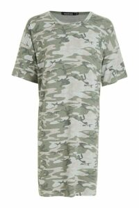 Womens Tall Camo Oversized T-Shirt Dress - grey - 14, Grey