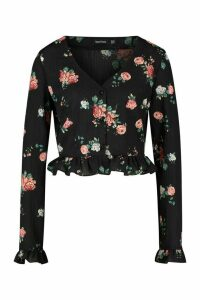 Womens Tall Ditsy Floral Wrap Ruffle Blouse - black - 16, Black