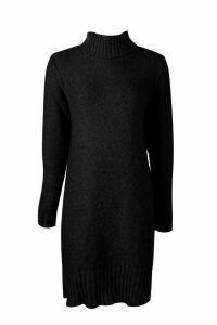 Womens Tall Roll Neck Jumper Dress - black - M, Black