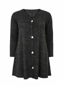 Charcoal Button Detail Swing Tunic Top, Charcoal