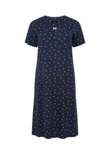 Navy Blue Ditsy Star Long Nightdress, Navy