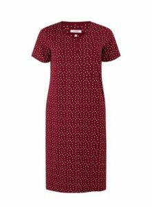 Burgundy Spot Print Long Nightdress, Burgundy