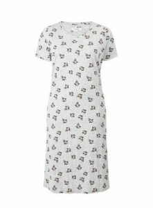 Grey Penguin Print Long Nightdress, Grey