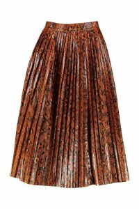 Womens Snake Print Leather Look Pleated Midi - brown - 14, Brown