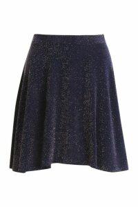 Womens Glitter Skater Skirt - navy - 14, Navy
