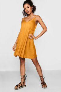 Womens Basic V Neck Swing Dress - yellow - 10, Yellow