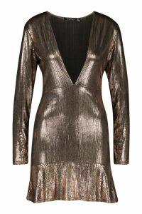 Womens Metallic Plunge Frill Hem Mini Dress - brown - 12, Brown