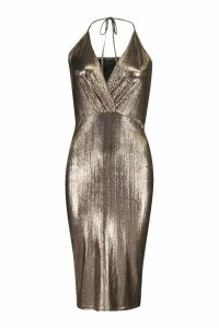 Womens Metallic Wrap Midi Dress - brown - 10, Brown