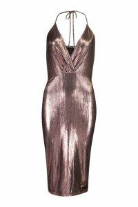 Womens Metallic Wrap Midi Dress - pink - 16, Pink