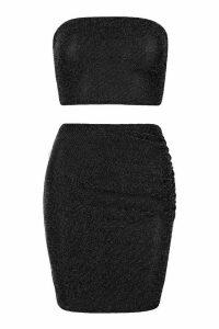Womens Metallic Bandeau & Ruched Mini Skirt Co-Ord - black - 14, Black