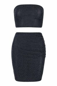 Womens Metallic Bandeau & Ruched Mini Skirt Co-Ord - navy - 14, Navy