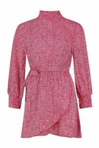 Womens Spot Shirred High Neck Skater Dress - 14, Red