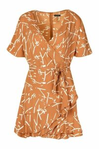Womens Scribble Print Skater Dress - brown - 12, Brown