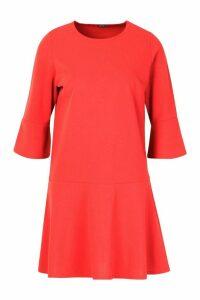 Womens Frill Sleeve And Hem Shirt Dress - orange - 14, Orange