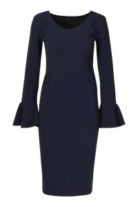 Womens Flute Sleeve Midi Dress - navy - 14, Navy