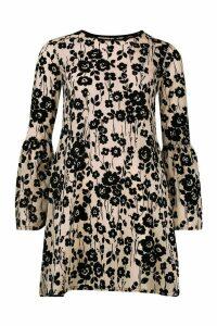 Womens Flock Devore Smock Dress - Beige - 16, Beige