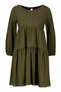 Womens Tiered Tailored Smock Dress - green - 14, Green