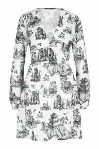 Womens Landscape Print Smock Dress - white - 16, White