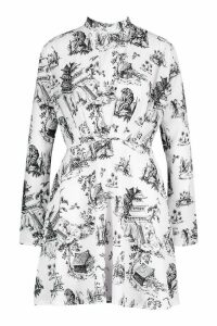 Womens Landscape Print High Neck Fit & Flare Dress - white - 8, White