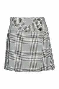 Womens Dogtooth Check Pleated Kilt - black - 16, Black