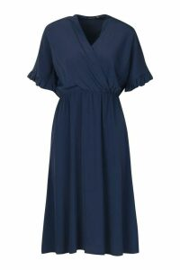 Womens Ruffle Sleeve Woven Midi Dress - navy - 12, Navy