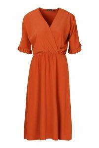 Womens Ruffle Sleeve Woven Midi Dress - orange - 12, Orange