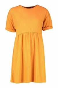 Womens Ribbed Smock Dress - orange - 14, Orange