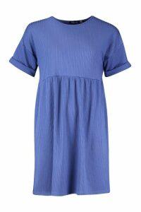 Womens Ribbed Smock Dress - navy - 14, Navy