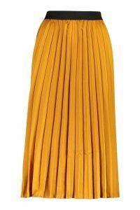 Womens Satin Pleated Midi Skirt - yellow - L, Yellow