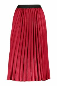 Womens Satin Pleated Midi Skirt - red - M, Red
