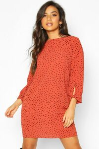 Womens Polka Dot Bow Sleeve Woven Shift Dress - orange - 12, Orange