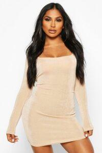Womens Slinky Square Neck Long Sleeve Mini Dress - Beige - 10, Beige