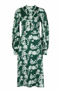 Womens Floral Print Blouson Sleeve Midi Skater Dress - green - 12, Green